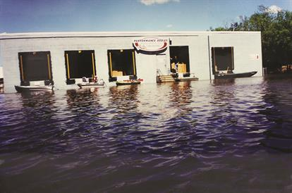Flood water surronds building