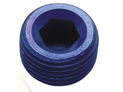 Picture of Fragola Aluminum AN Adapters - MPT Allen Head Plugs - Blue/Black