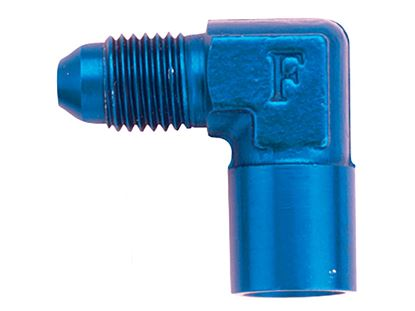 Picture of Fragola Aluminum Adapters - AN Male x Female Pipe Thread - 90 Degree - Blue/Black