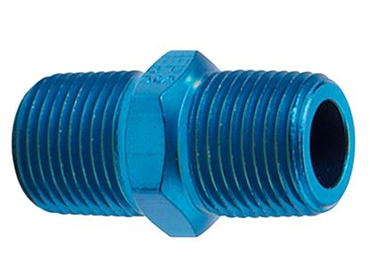 Picture of Fragola Aluminum AN Adapters - Male Pipe Nipples - Blue/Black