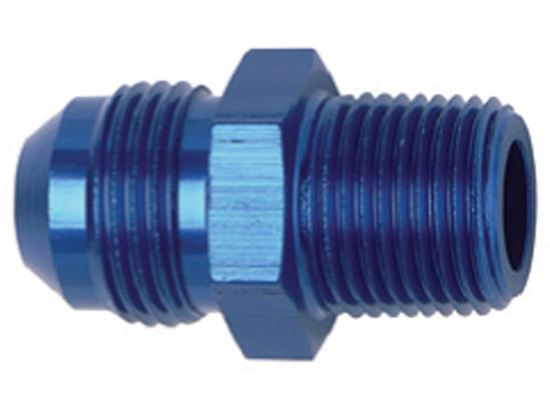Picture of Fragola Aluminum AN Adapters -  Straight Flare To Pipe Blue/Black