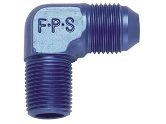 Picture of Fragola Aluminum AN Adapters - 90º Elbow Flare To Pipe - Blue/Black